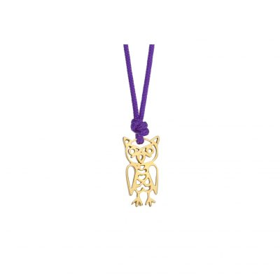 """Owl"",18k yellow gold charm."