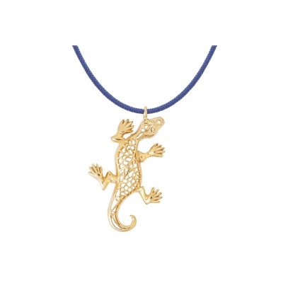 Salamander, silver 925 gold-plated charm.