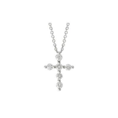Diamond cross 18k white gold
