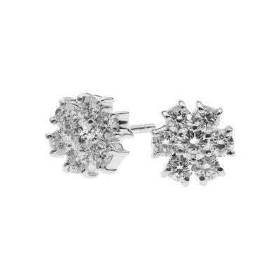 Flower stud diamond earrings 18k white gold