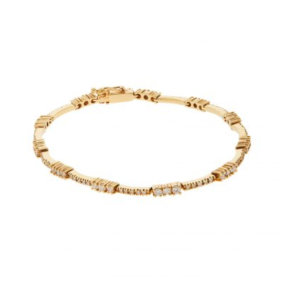 Diamond tennis bracelet in 18 carat yellow gold