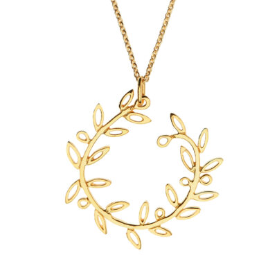 Olive wreath, Pendant gold-plated silver 925