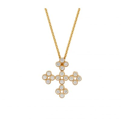 Diamond Cross 18K Yellow Gold