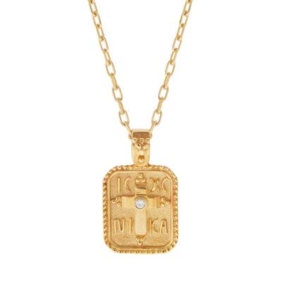 Konstantinato, Pendant 14kt Yellow Gold with a diamond.