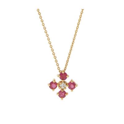 Ruby and diamond cross K18 yellow gold.