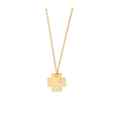 Cross Pendant 18kt Yellow Gold with aDiamonds 0,01 carat