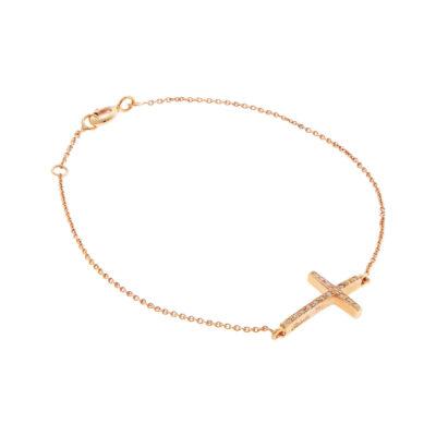 Cross diamond chain bracelet 18 carat pink gold.
