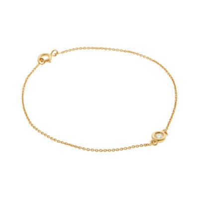18 carat yellow gold chain bracelet set with a brilliant cut diamond.