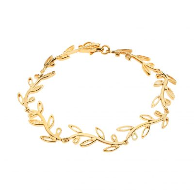 Olive wreath, bracelet gold-plated silver 925.