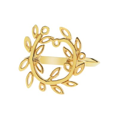 Olive wreath, ring gold-plated silver 925.