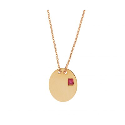 Ruby tag pendant 18k pink gold