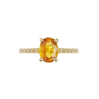 Yellow sapphire and diamond ring, 18 carat yellow gold.