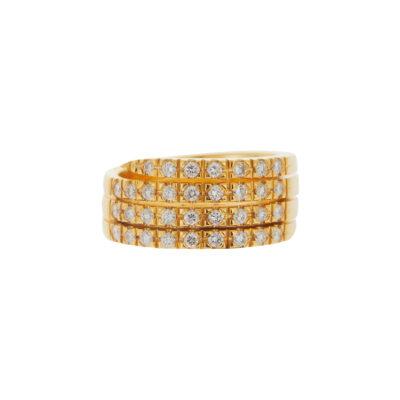 Diamond four rows half band 18 carat yellow gold.
