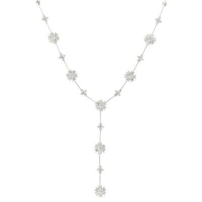 Diamond flower drop necklace 18 carat white gold