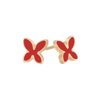 Butterfly 18 carat yellow gold enamelled earrings.
