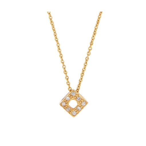 Square diamond pendant, 18k yellow gold.