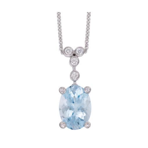 Aquamarine and diamond pendant 18 carat white gold