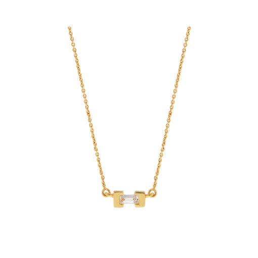 Diamond baguette pendant 18 carat yellow gold