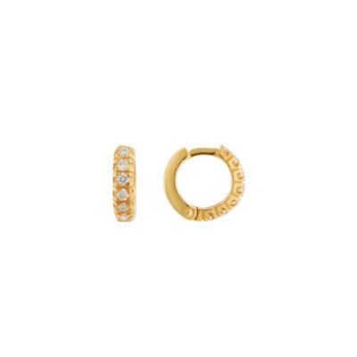 Small diamond hoop earrings in 18 carat yellow gold.