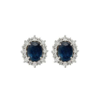 Sapphire and diamond earrings, 18 carat white gold.