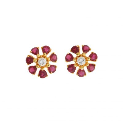 Ruby and diamond earrings, 18 carat yellow gold.