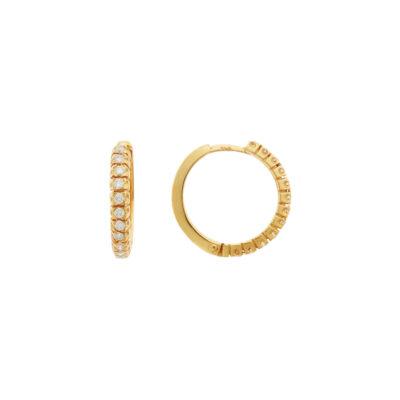 Diamond hoop earrings in 18 carat yellow gold.