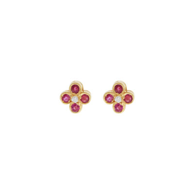 Ruby and diamond earring studs in 18 yellow gold.