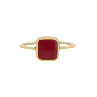 18 carat yellow gold, enamelled ring.
