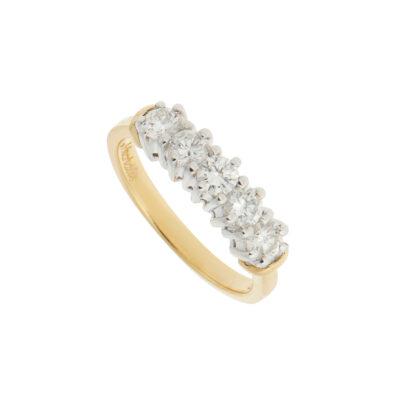 Five Stones Diamond Band 18k white & yellow gold.