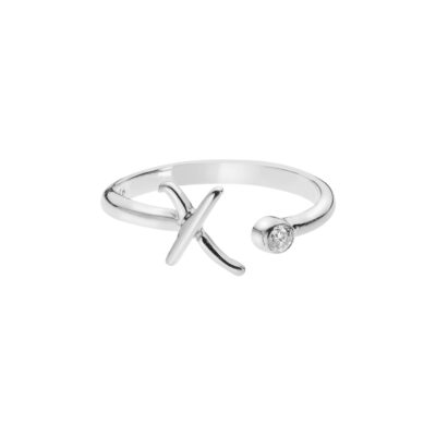 """Letter """"X"""" ring in 18 carat white gold with a diamond."""