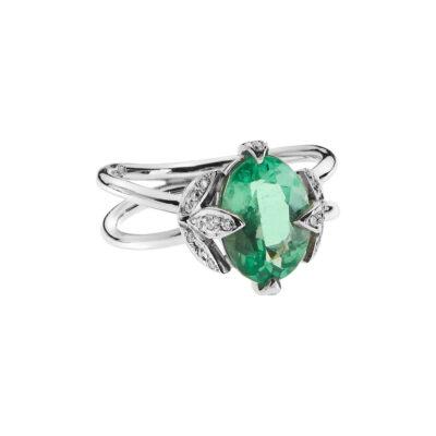 Emerald and diamond ring 18 carat white gold.