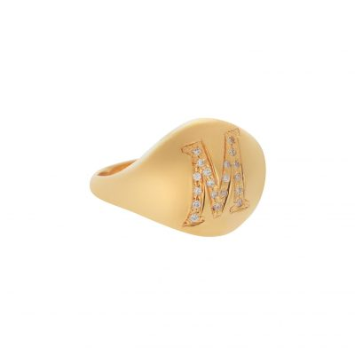"""Letter """"M"""" 18 carat yellow gold ring with diamonds"""