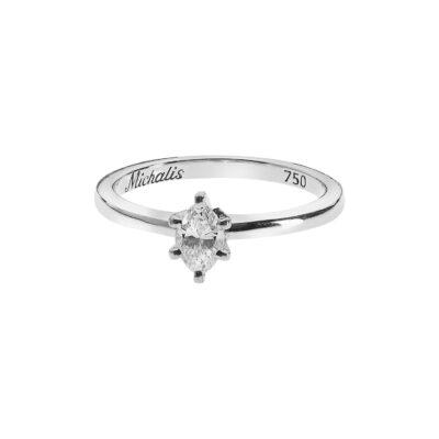 Diamond marquise cut diamond solitaire 18 carat white gold.