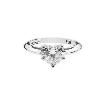 Diamond heart diamond solitaire 18 carat white gold.