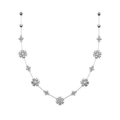 Diamond flower necklace 18 carat white gold