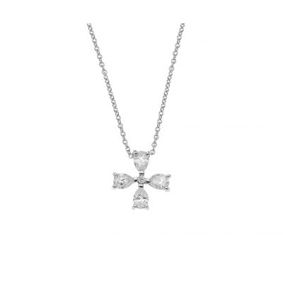 Pear cut diamond cross 18k white gold.