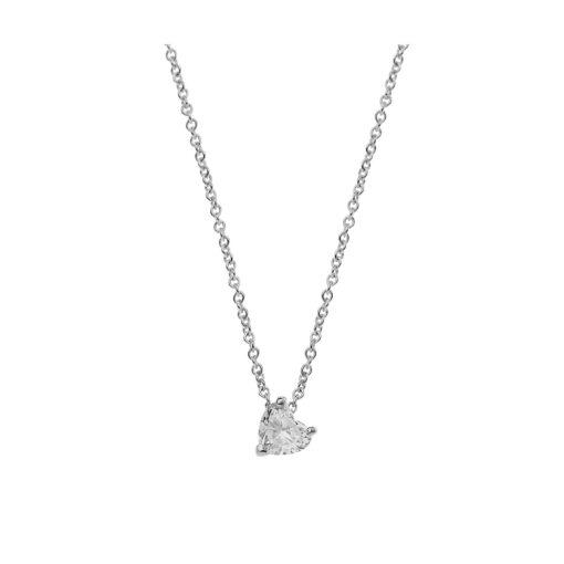 Diamond heart solitaire pendant 18 carat white gold