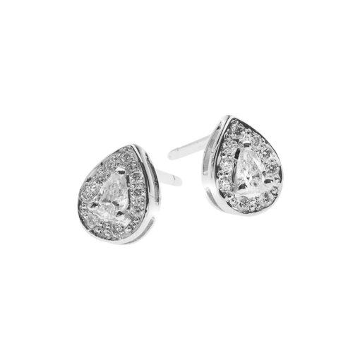 Pavé pear-shaped diamond studs 18k white gold.
