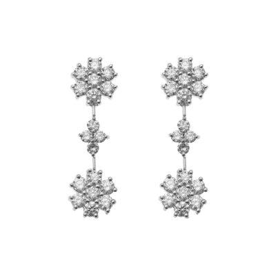 Flower drop diamond earrings in 18 carat white gold
