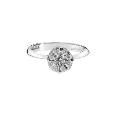 Invisible-Set Diamond Ring in 18 carat White Gold.